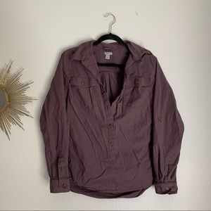 Carhartt Maroon Button Down Long Sleeve Top Large